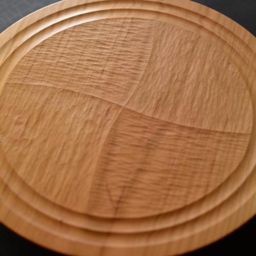 後藤文生 パンケーキ皿 柄彫り 市松 24cm