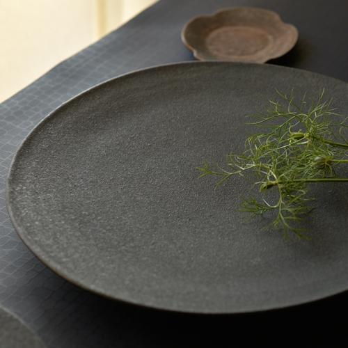 大野香織 黒釉プレートLL(28~29cm)