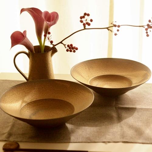 水野幸一 銅彩釉 リム鉢23cm