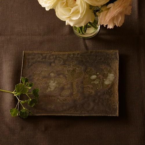 紫蓮 black 角板皿