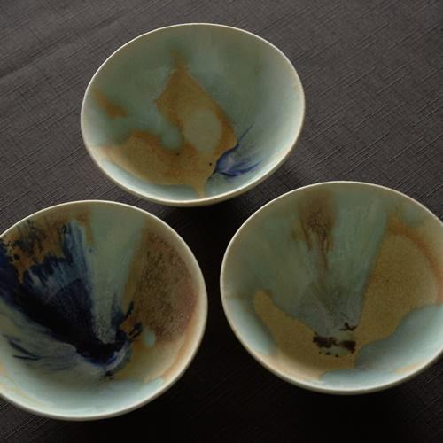 紫蓮 monet 三彩 飯碗