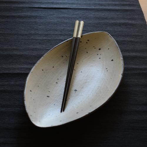奥田章 ひびわれアーモンド皿29cm