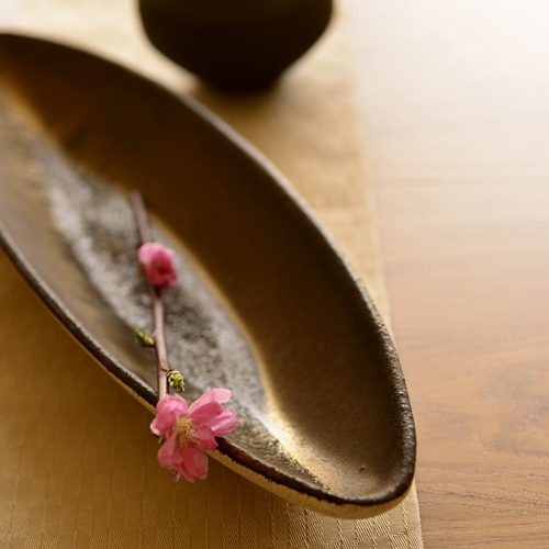 橋本忍 皹化粧舟形鉢