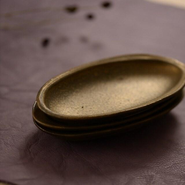水野幸一 銅彩釉 リムオーバル小皿