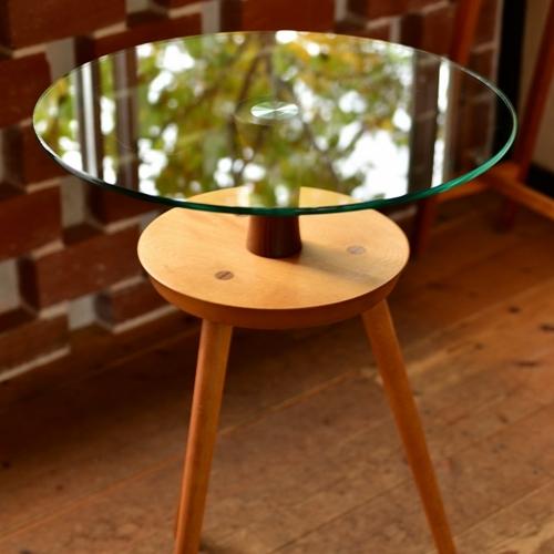 後藤文生 天然木コーヒーテーブル(ガラス天板)