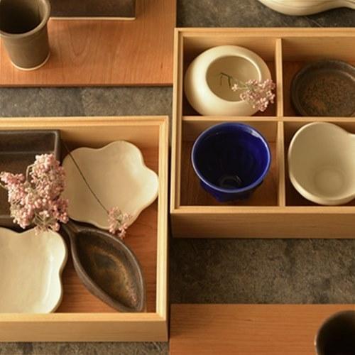 中西朝一/橋本尚美 コラボレーション 木製お重箱 2-tone 仕切り板付 と小鉢