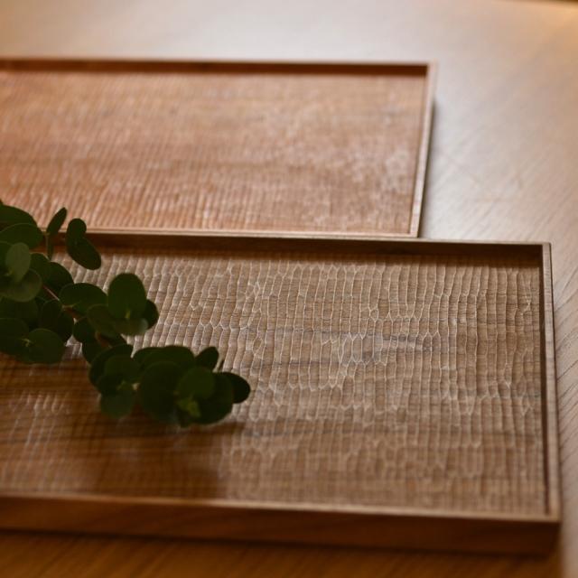 ふるいともかず 木製 さざ波 角盆(長方形)40cm