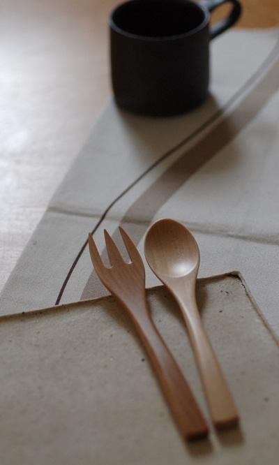 木製ケーキフォーク スプーン