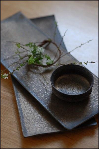 銅彩釉角長皿