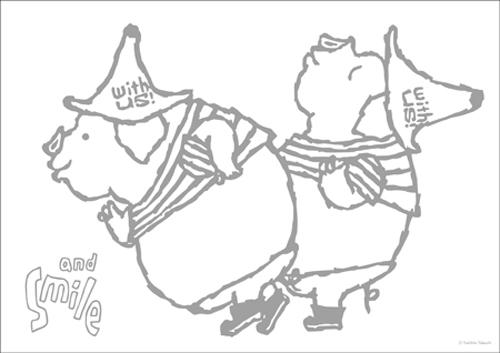 ダウンロード版 ぬり絵/ブタ [アイボリー・武内祐人]