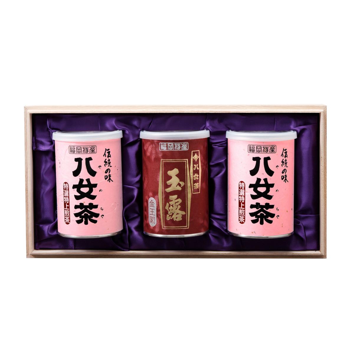 【G-233・サル】特選特上煎茶・玉露金 100g×3缶木箱ギフト