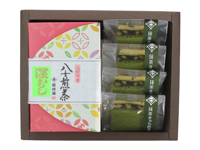 【G-707】八女抹茶キャラメルサンド4個・マイルド深むし特上煎茶(80g詰)ギフト