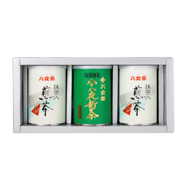 【G-196・ア400】八十八夜新茶・抹茶入り煎茶ティーバッグ缶 100g×3缶