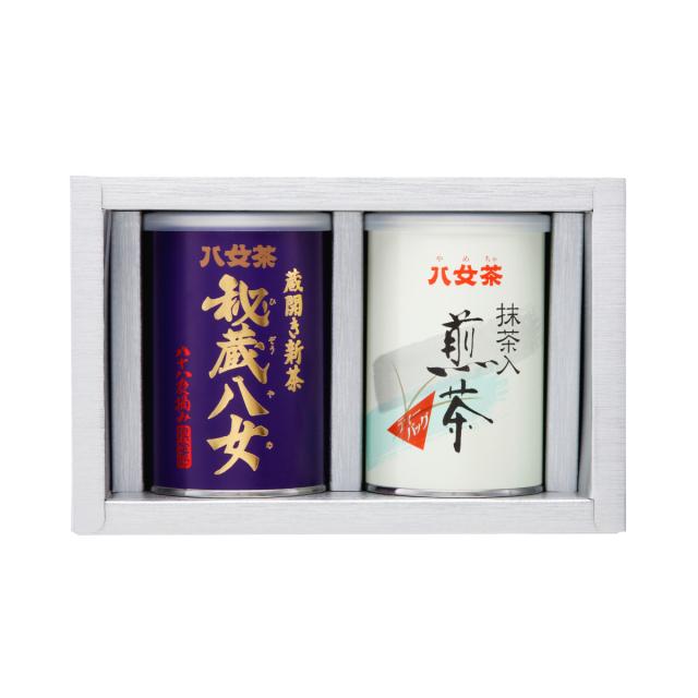 【G-197・コ400】秘蔵八女100g・抹茶入り煎茶ティーバッグ缶 2缶ギフト