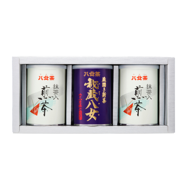 【G-198・コ400】秘蔵八女100g・抹茶入り煎茶ティーバッグ缶 3缶ギフト