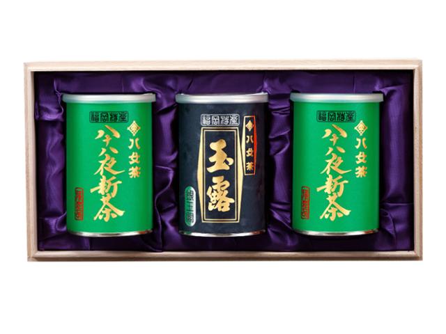 【G-210・アヌ】八十八夜新茶・玉露銀 100g×3缶木箱ギフト