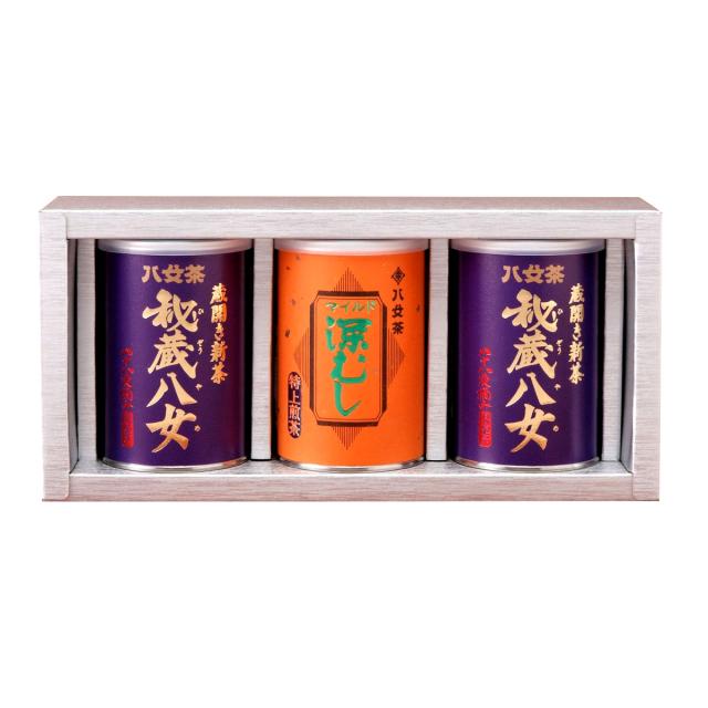 【G-230・コフ】秘蔵八女・マイルド深むし特上 100g×3缶ギフト