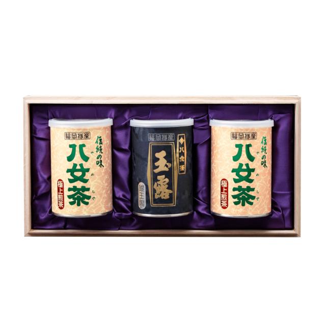 【G-234・ホヌ】極上煎茶・玉露銀 100g×3缶木箱