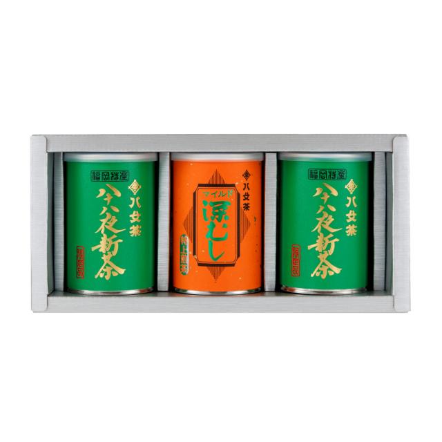 【G-253・アフ】八十八夜新茶 ・マイルド深むし特上 100g×3缶ギフトセット
