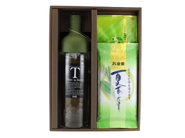 【G-400・夏アF】夏茶だより90g・八十八夜新茶100g 2袋フィルターインボトル(ラージサイズ)特別ギフト