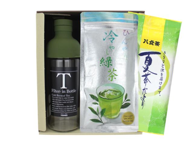 【G-401・夏冷F】夏茶だより90g・冷やし緑茶100g 2袋フィルターインボトル(ショートサイズ)特別ギフト
