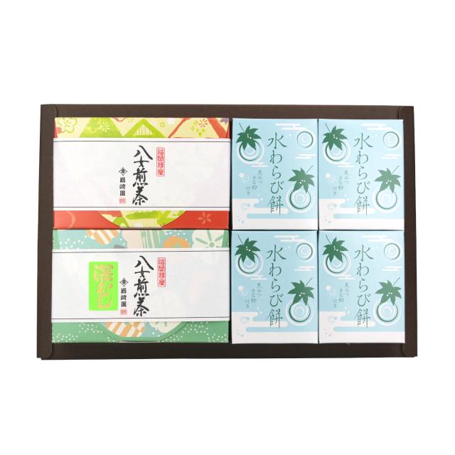 【G-705】水わらび餅4個・上級煎茶・深むし茶(60g詰)ギフト