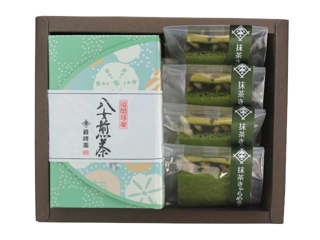 【G-706】八女抹茶キャラメルサンド4個・特選特上煎茶(80g詰)ギフト