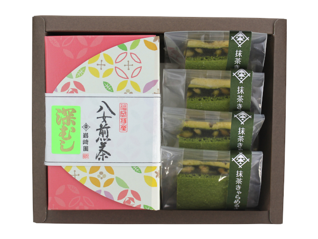 【G-707】抹茶キャラメルサンド4個・マイルド深むし特上煎茶(80g詰)ギフト