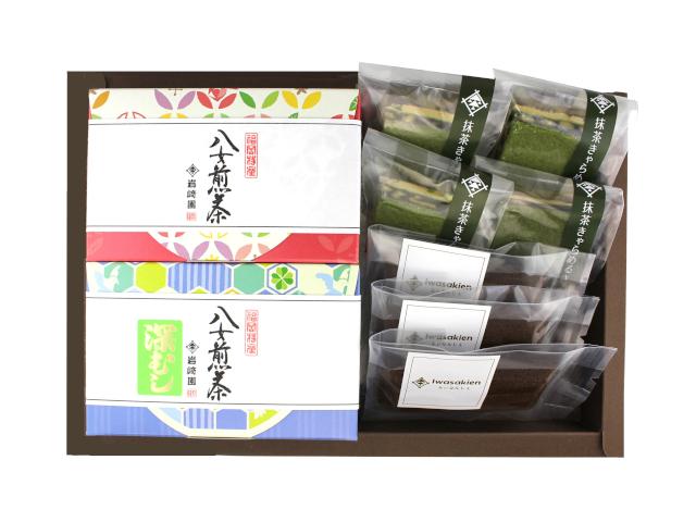 【G-709】ほうじ茶フィナンシェ3個・抹茶キャラメルサンド4個・上級特選煎茶・深むし茶(60g詰)ギフト