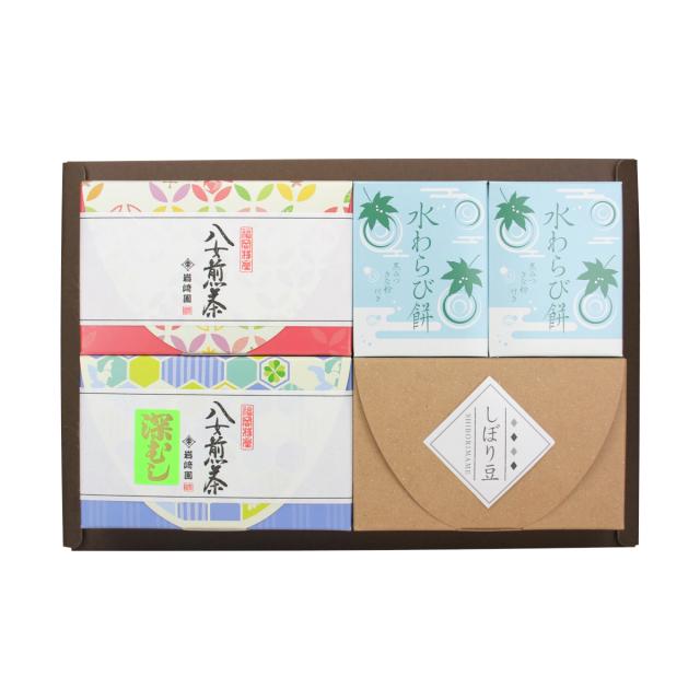 【G-712】水わらび餅2個・しぼり豆・特選煎茶・深むし茶(60g詰)ギフト
