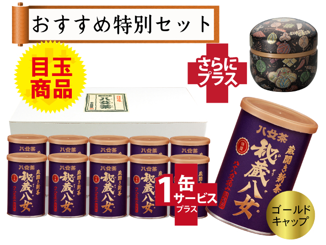 【T-87・シ】蔵開き新茶・特選秘蔵八女ゴールドキャップ 10+1缶+プレゼント品