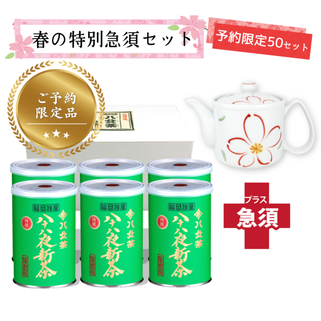 【T-705・キ】限定品・特選八十八夜新茶100g 6缶+茶用品