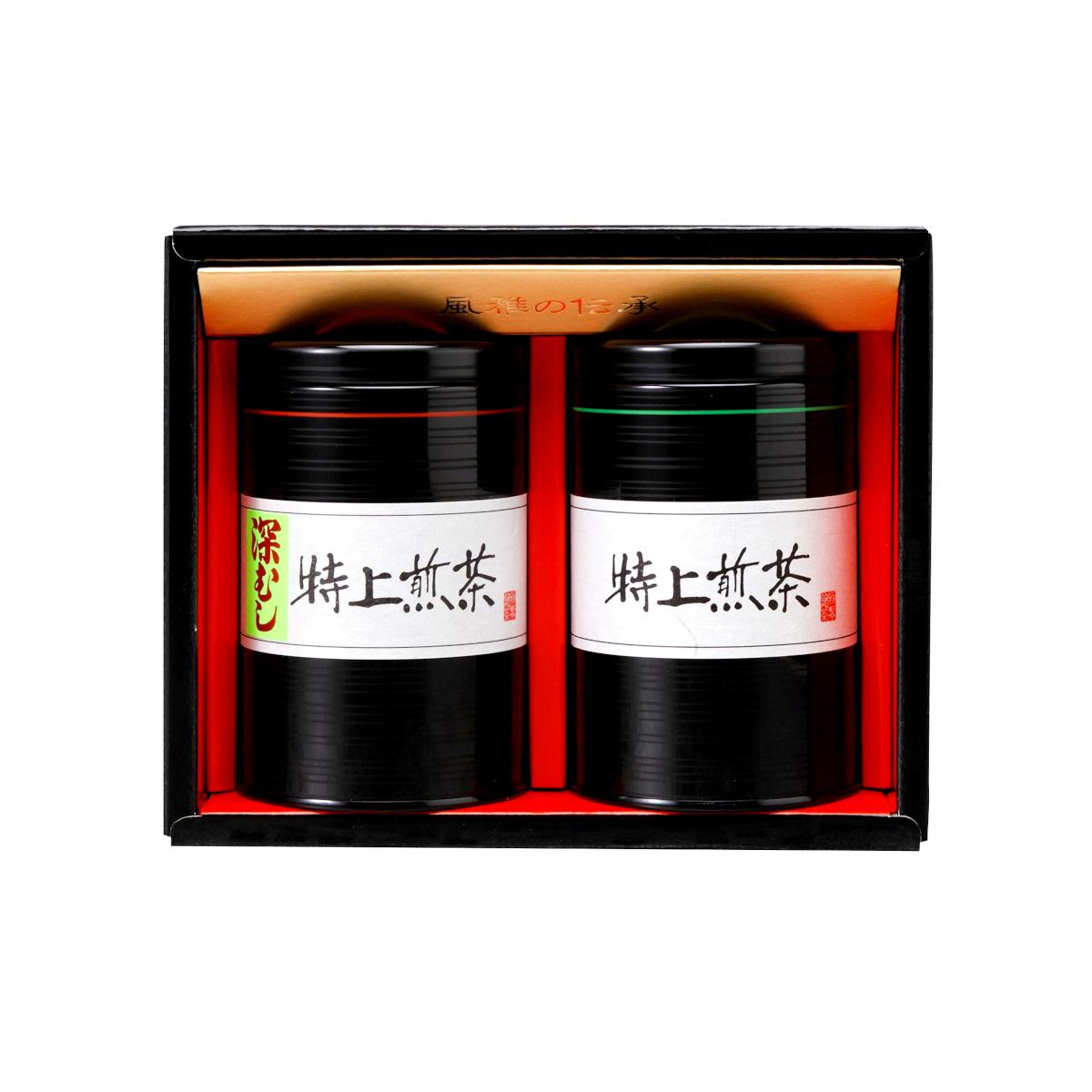 【G-245・ニフ】特上煎茶・深むし茶 120g×2缶ギフト