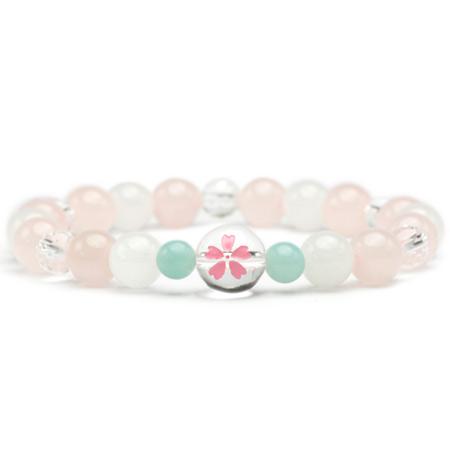 桜クリスタルブレスレット(クリスタル・ローズクォーツ・スノークォーツ・アマゾナイト) 2280