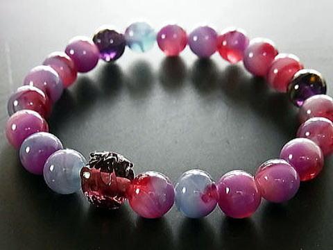 彩り ちぎり和泉蜻蛉玉 ブレスレット 紫