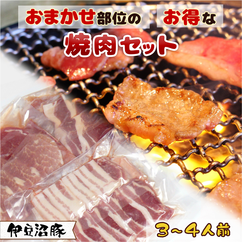 伊豆沼豚 おまかせ部位のお得な焼肉セット 3~4人前(750g)