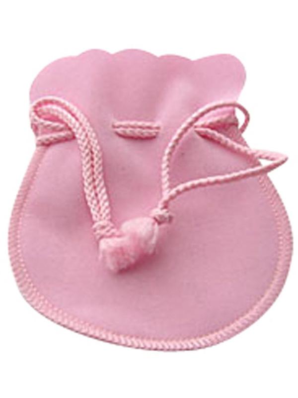 ジュエリーポーチ  ピンク スエード調 巾着袋 アクセサリーポーチ 携帯用 ラージ大サイズ   [jk20050523-01]