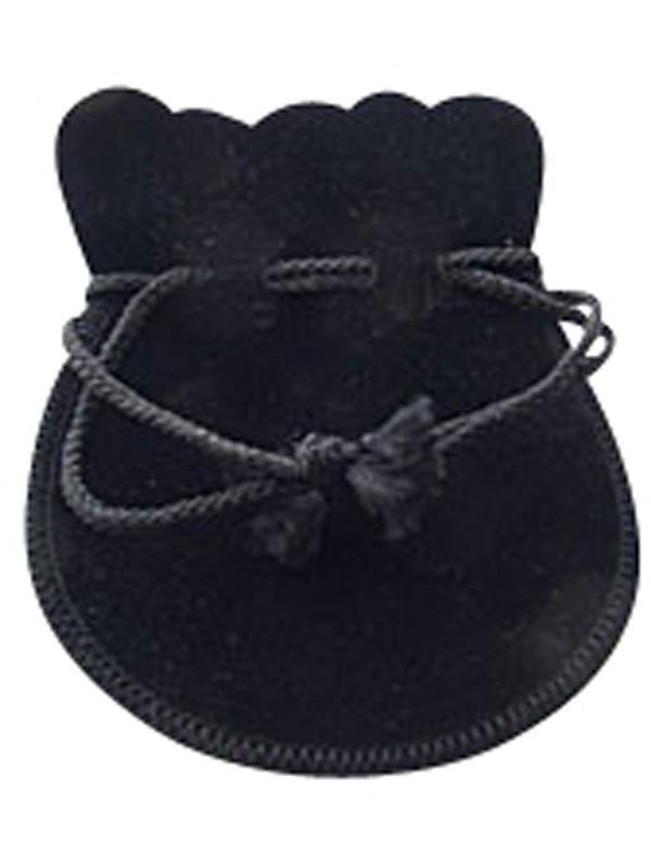 ジュエリーポーチ ブラック スエード調 巾着袋 アクセサリーポーチ 携帯用 ラージ大サイズ   [jk20050523-02]