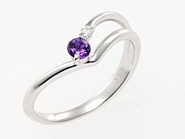 誕生石リング2月の誕生石アメジスト&ダイヤモンド指輪