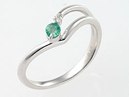 誕生石リング5月の誕生石エメラルド&ダイヤモンド指輪