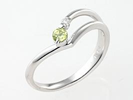 誕生石リング8月の誕生石ペリドット&ダイヤモンド指輪