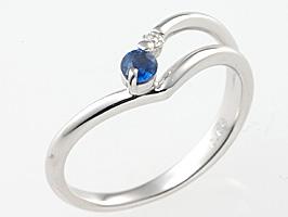 誕生石リング9月の誕生石サファイア&ダイヤモンド指輪