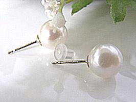 六月の誕生石 『本真珠 ピアス』 8.5ミリ プラチナ