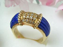 K18 ラピスラズリ・ダイヤモンド・リング[18金指輪]♪