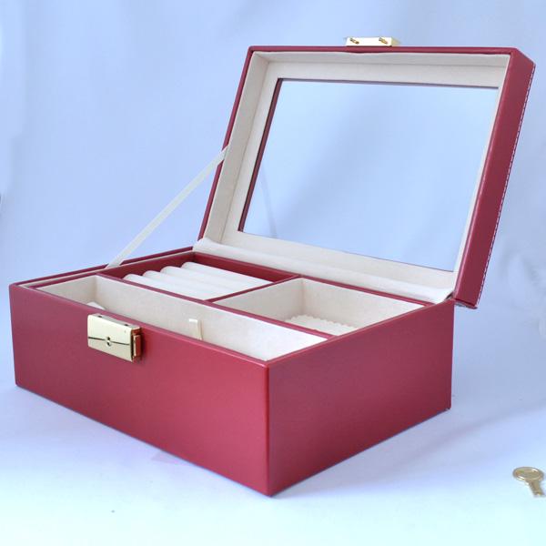 真っ赤でシンプル 高級 ジュエリーボックス/宝石箱/ジュエリーケース jk20040525-2