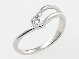 誕生石リング3月の誕生石アクアマリン&ダイヤモンド指輪