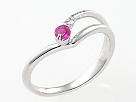 誕生石リング7月の誕生石ルビー&ダイヤモンド指輪