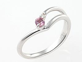 誕生石リング10月の誕生石ピンクトルマリン&ダイヤモンド指輪