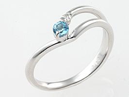 誕生石リング11月の誕生石ブルートパーズ&ダイヤモンド指輪
