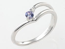誕生日プレゼント♪12月の誕生石タンザナイト&ダイヤモンド K18ホワイトゴールド指輪【誕生日プレゼント】